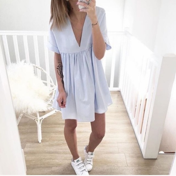 0ac9cf38dc7a Zara Dresses | Blue Poplin Jumpsuit Playsuit Romper Dress Xs | Poshmark